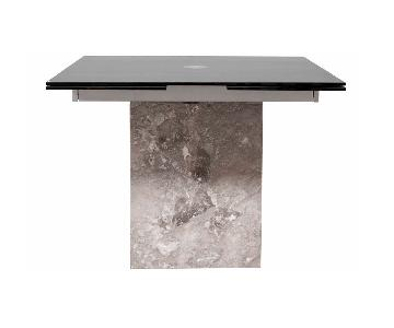 Modern Black Glass Extendable Dining Table w/ Marble Base