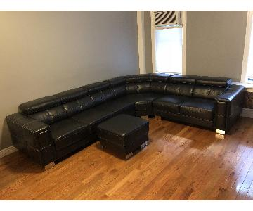 Furniture of America Sectional Sofa w/ Headrests & Ottoman
