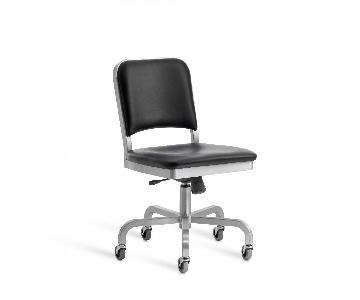 Emeco Navy Semi-Upholstered Swivel Chair