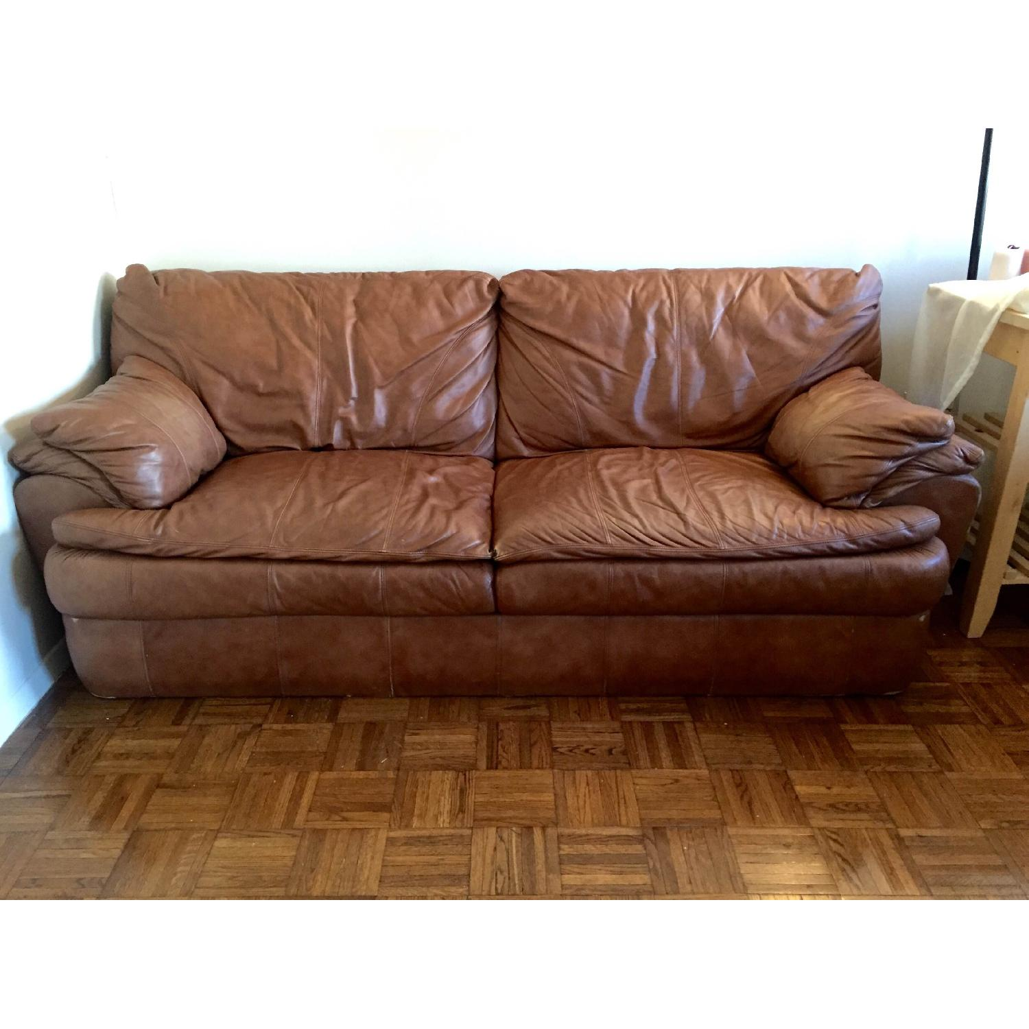 Rustic Style Leather Couch