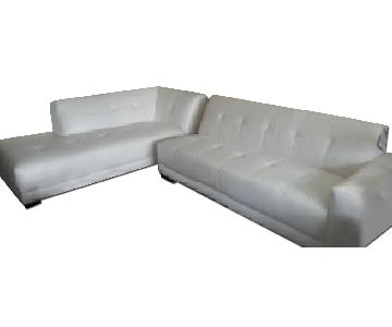 Broyhill White Leather Sectional