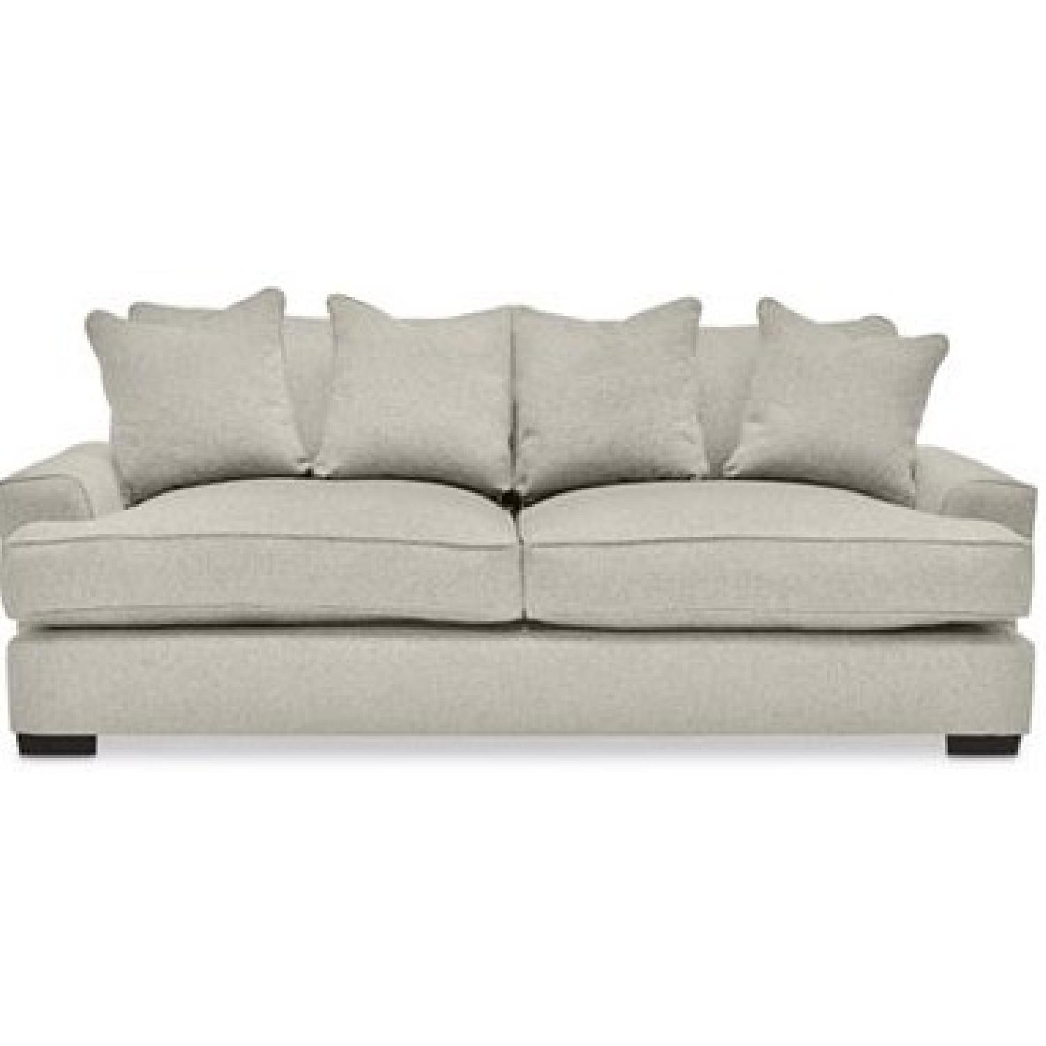 macy 39 s gray ainsley fabric sofa w 4 toss pillows aptdeco