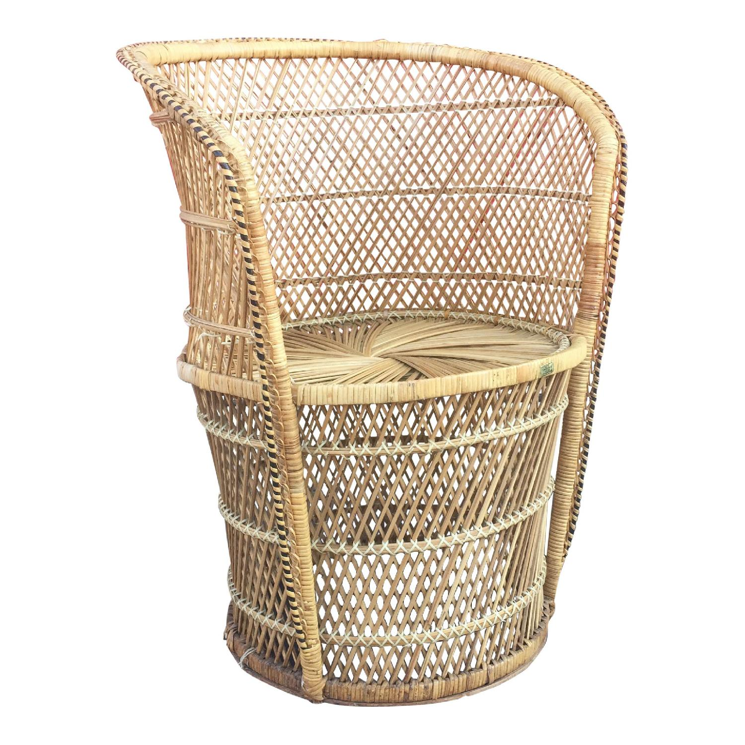 Vintage Wicker Low Throne Chair - image-0