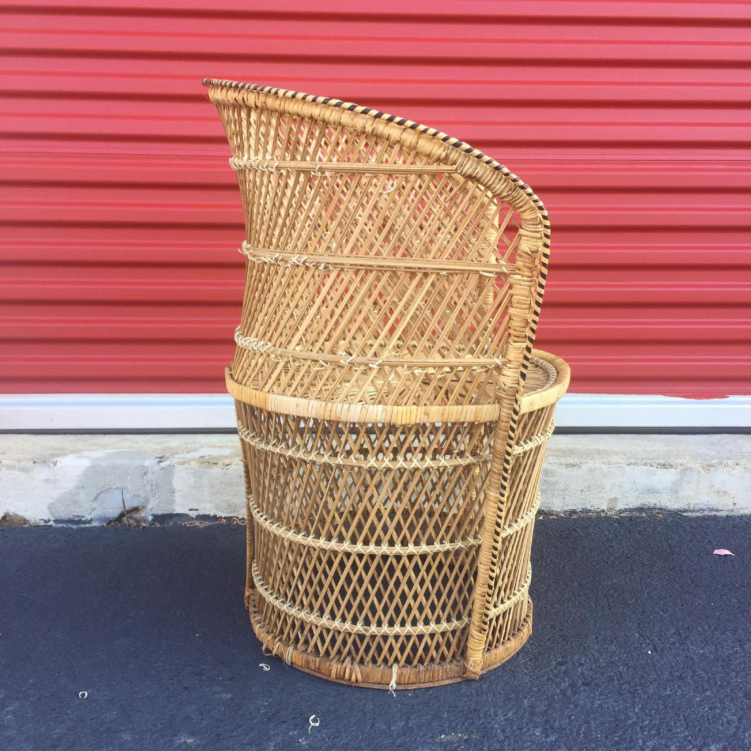 Vintage Wicker Low Throne Chair - image-4