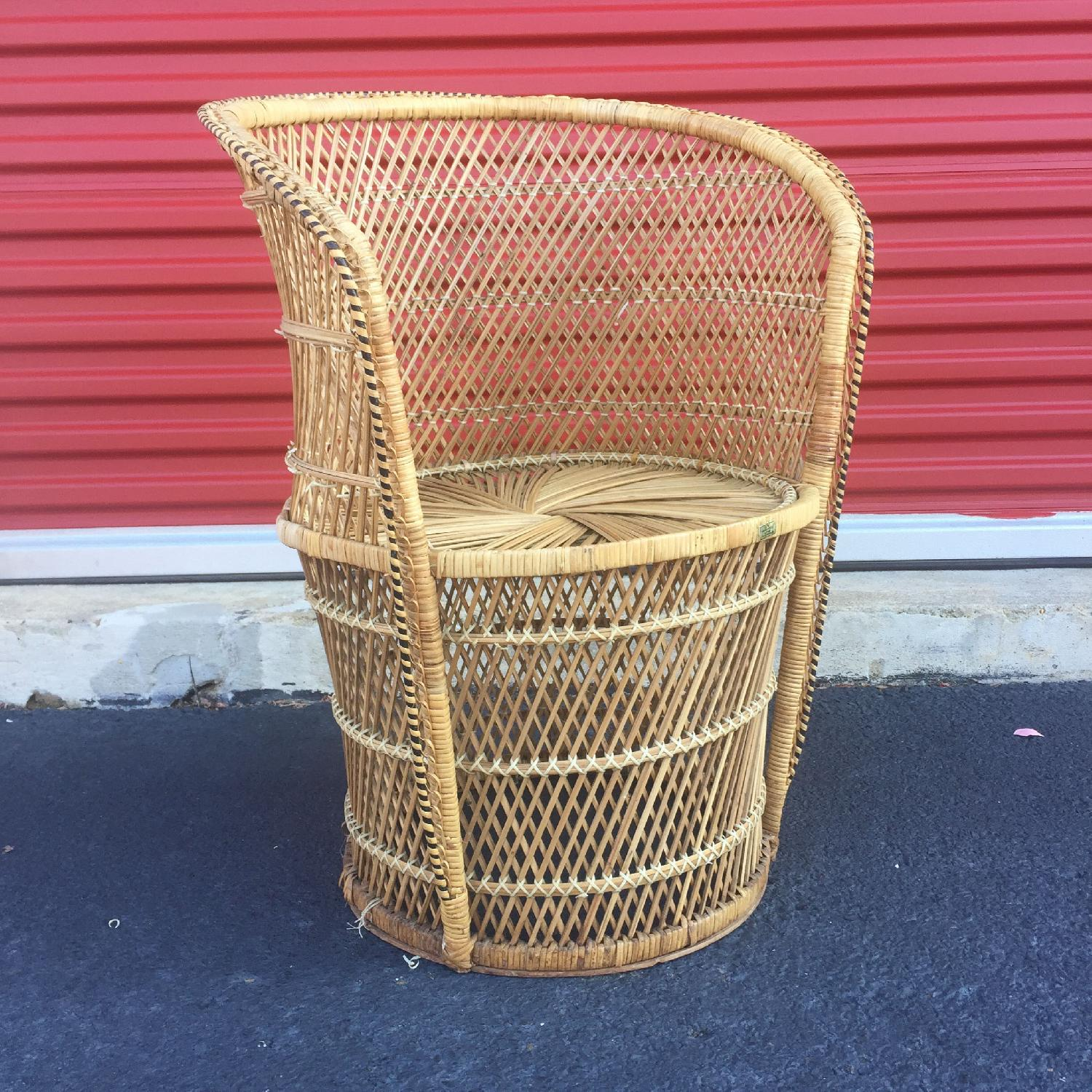 Vintage Wicker Low Throne Chair - image-5
