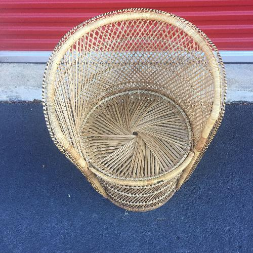 Used Vintage Wicker Low Throne Chair for sale on AptDeco
