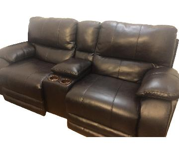 Bob's Power Reclining Console Loveseat