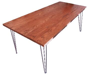 Custom Solid Wood Dining Table w/ Hairpin Legs