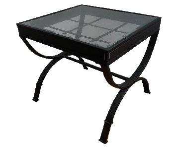 Bob's Emory Glass End Table in Black Metal