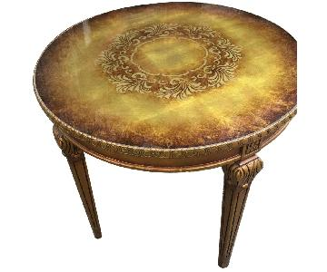 Vintage 1960s Golden Side Table w/ Glass
