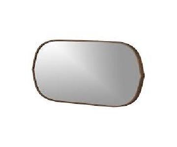 Crate & Barrel Penarth Walnut Oval Wall Mirror