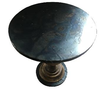 Carved Wood/Patina Metal Round Accent Table