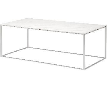 Blu Dot White Marble Coffee Table