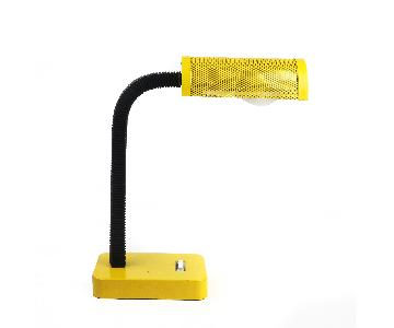 Yellow Desk Lamp w/ Stamped Metal Shade