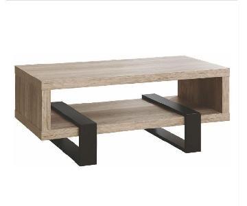 Coaster Grey Driftwood Coffee Table w/ Black Metal Legs