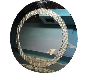 Round Wall Mirror w/ Bluish Tint