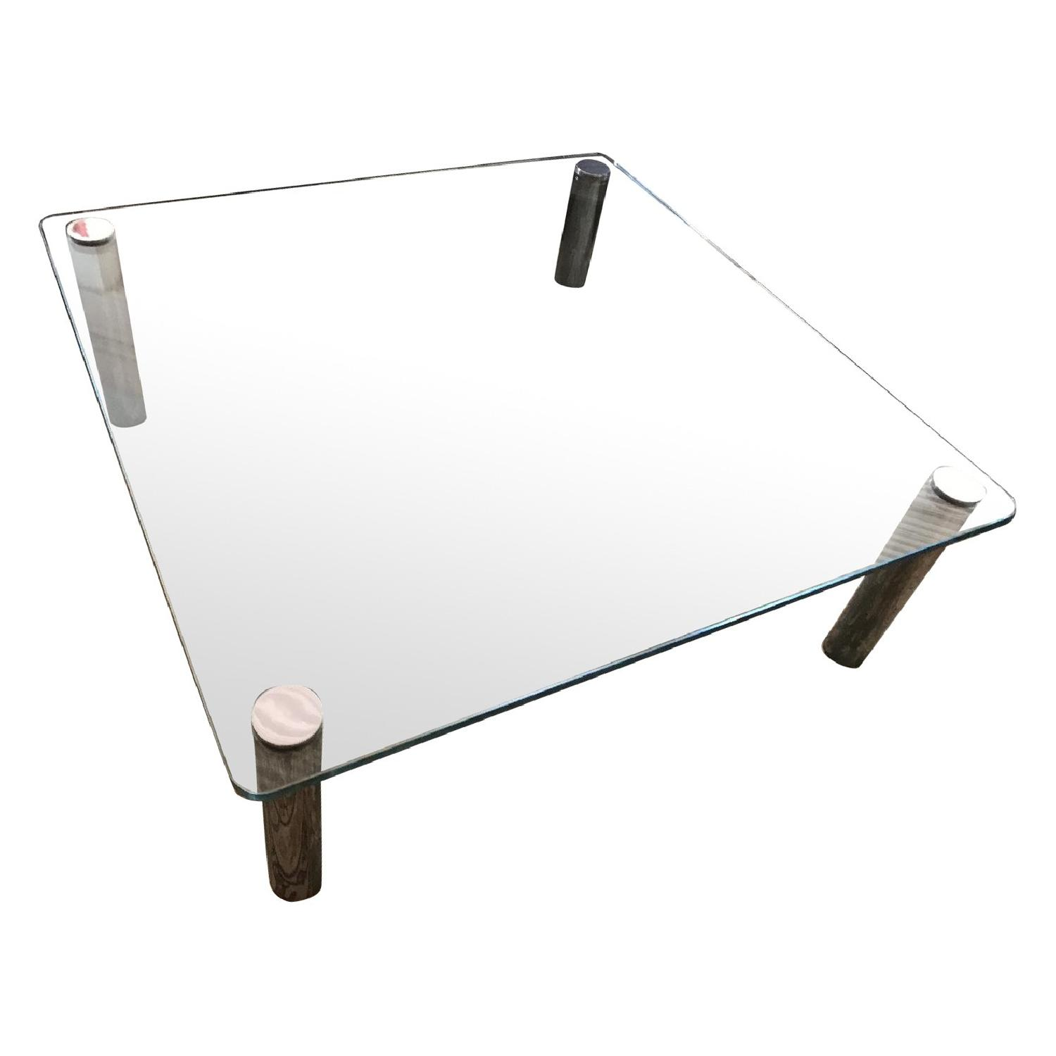 Vintage Chrome & Glass Pace Collection Style Coffee Table