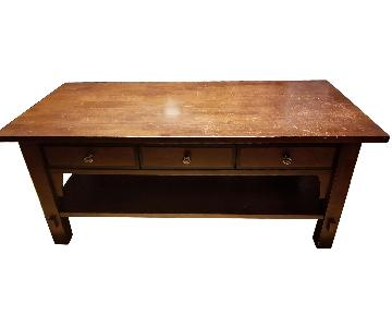 Solid Wood Coffee Table w/ 3-Drawers