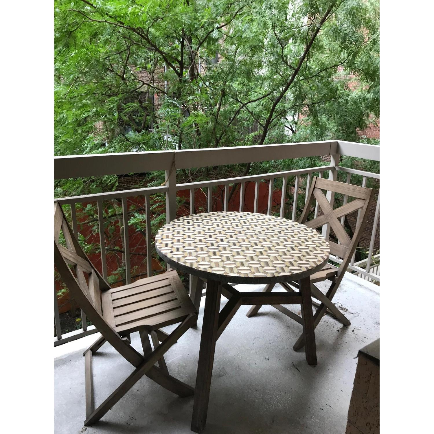 West Elm Outdoor Mosaic Tile Bistro Table w/ 2 Chairs ...  sc 1 st  AptDeco & West Elm Outdoor Mosaic Tile Bistro Table w/ 2 Chairs - AptDeco