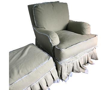 Quatrine Milan Chair & Ottoman w/ Custom Slip Cover