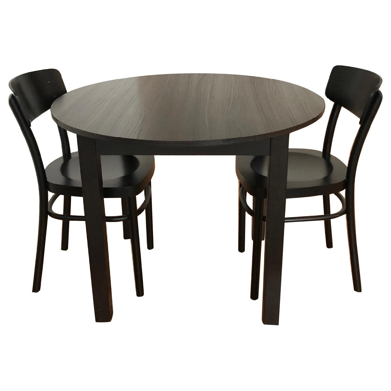 Ikea Black Wood Round Dining Table W/ 2 Idolf Chairs ...