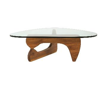 Mid Century Style Glass & Wood Coffee Table
