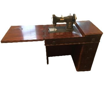 Antique Sewing Wood Desk & Chair