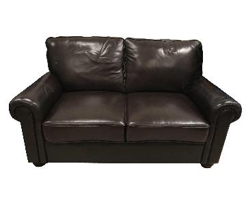Brown Leather Loveseat + Armchair