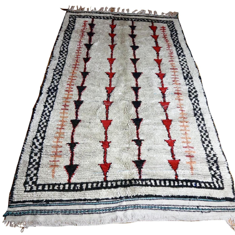 Moroccan Vintage Wool Atlas Azilal Beni Ourain Carpet Rug