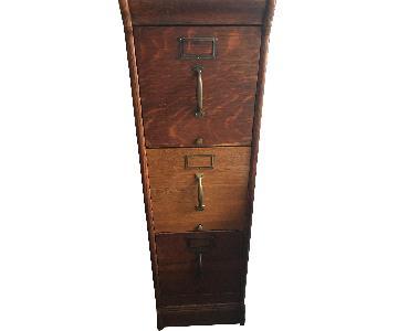 Antique Globe Oak 3 Drawer Filing Cabinet