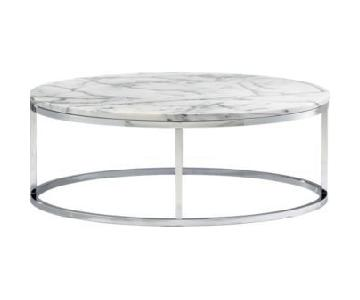 CB2 White Marble Round Coffee Table