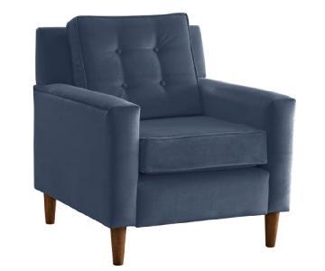 One King's Lane Winston Club Chair in Blue Velvet