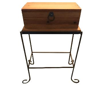 Brown Storage Table on Stand