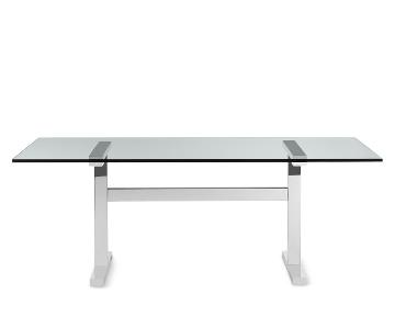 Williams Sonoma Mercer Large Dining Table w/ Glass Top