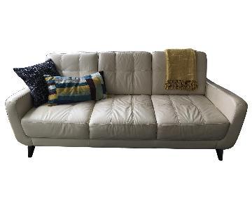 Beige Leather Sofa