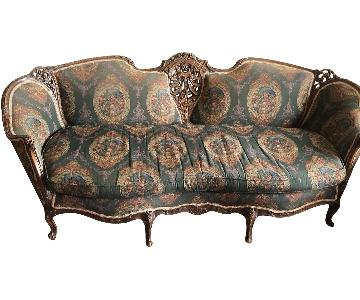 Antique French Victorian Hand Carved Frame Sofa