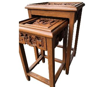 Antique Chinese Wood Carved Coffee + Side Tables