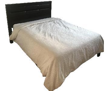 Coffee Wood Bed w/ Dark Leather Headboard