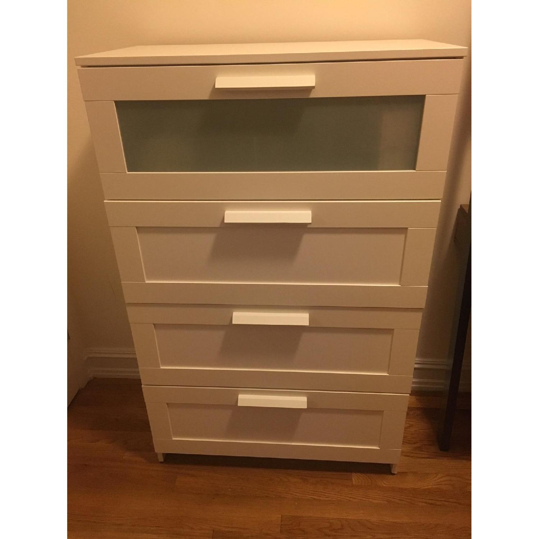 Ikea Brimnes White 4 Drawer Dresser w Frosted Glass AptDeco