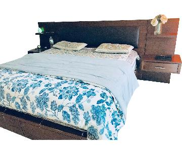 Raymour & Flanigan King Bed w/ Attached Nightstand