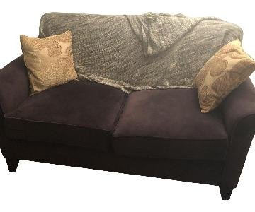 Suede Plum Loveseat + Matching Chair