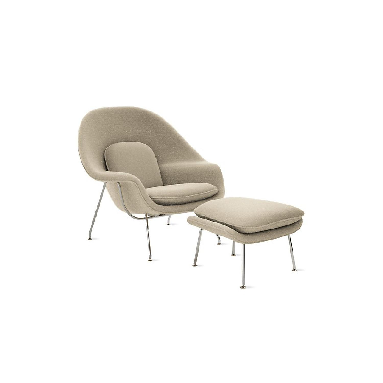 Knoll Saarinen Womb Chair U0026 Ottoman In Boucle Nuetral ...