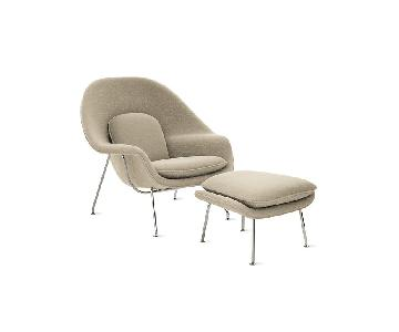 Knoll Saarinen Womb Chair & Ottoman in Boucle Nuetral