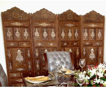 Early 20th Century Folding Hand Carved Double Sided Screen
