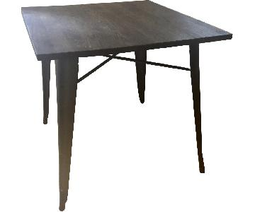 Stained Wood & Metal Square Industrial Dining Table