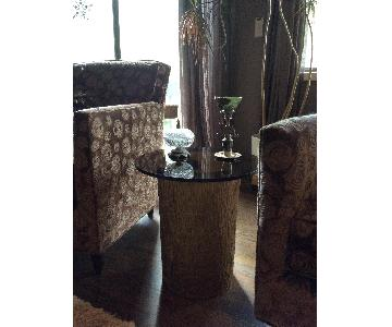 West Elm Gold Tree End Table w/ Custom Glass Top