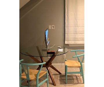Mid-Century Modern Glass & Wood Dining Table