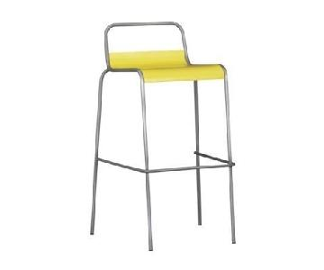 CB2 Mel Chartreuse Yellow Steel Bar Stools
