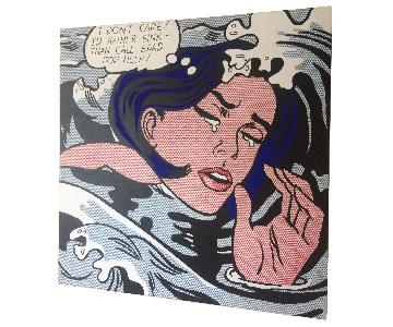 Roy Lichtenstein Reproduced Printed Canvas Drowning Girl