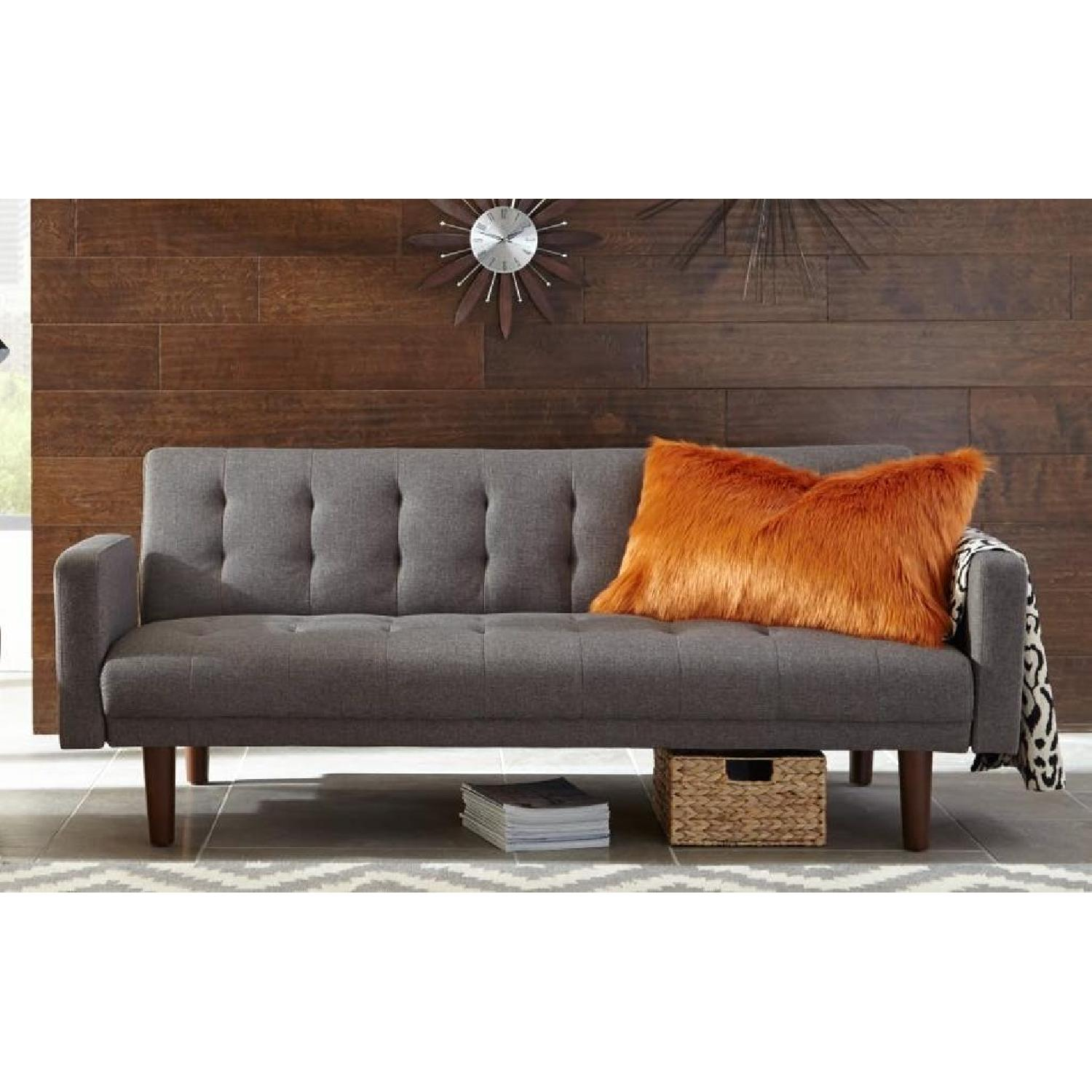 Tufted Grey Sleeper Sofa-0